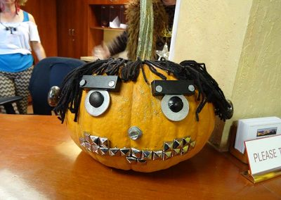 Heavy metal pumpkin decorated by a great office!
